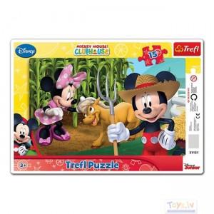 """Trefl Puzle rāmī """"Mikijs"""", 15 gb."""