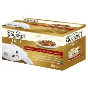 GOURMET GOLD kaķu konservi 4-paka gaļas gabaliņi mērcē 340g