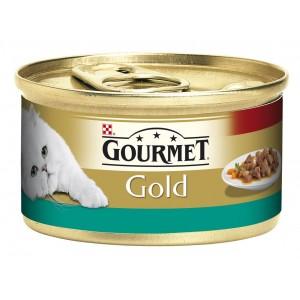 GOURMET GOLD kaķu konservs gaļas gabaliņi mērcē (lasis, vista) 85g