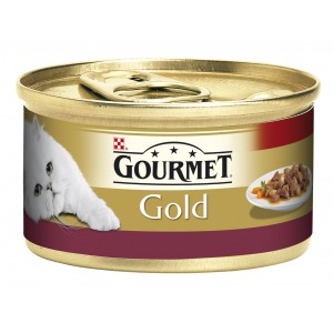 GOURMET GOLD kaķu konservs gaļas gabaliņi mērcē (vista, aknas) 85g