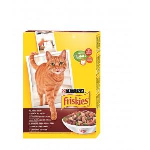FRISKIES kaķu sausā barība (liellopu gaļa,aknas,dārzeņi) 1kg
