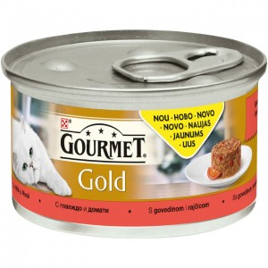 GOURMET GOLD kaķu konservs SAVOURY CAKE (liellops/tomāti), 85g