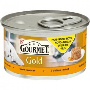GOURMET GOLD kaķu konservs SAVOURY CAKE (vista/burkāni), 85g