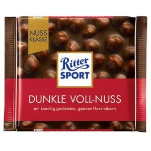 RITTER SPORT melnā šokolāde ar veseliem lazdu riekstiem, 100g