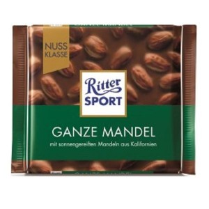 RITTER SPORT piena šokolāde ar mandelēm, 100g