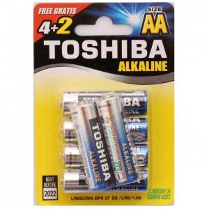 TOSHIBA alkaline barošanas elements AA (LR6), blister 4+2gb GRATIS