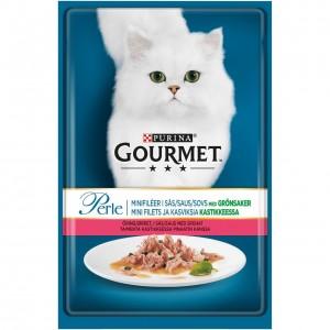 GOURMET PERLE kaķu konservs gaļas gabaliņi mērcē (forele, spināti) 85g