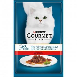 GOURMET PERLE kaķu konservs gaļas gabaliņi mērcē (liellops) 85g