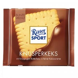 RITTER SPORT piena šokolāde ar sviesta biskvītu, 100g
