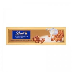 LINDT Piena šokolāde ar lazdu riekstiem, 300g