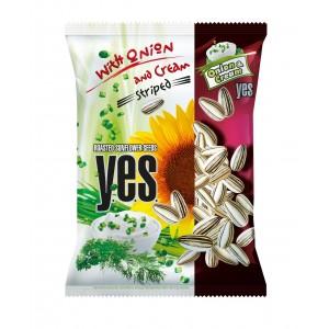 Y.E.S. grauzdētas saulespuķu sēklas ar krējuma un sīpolu garšu, 150g
