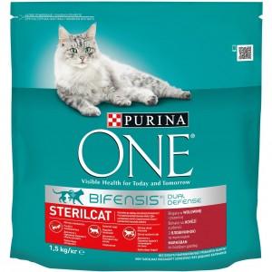 ONE kaķu sausā barība STERILIZĒTIEM (liellops), 1.5kg
