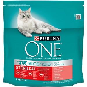 ONE kaķu sausā barība STERILIZĒTIEM (lasis/pilngraudu kvieši) 1.5kg