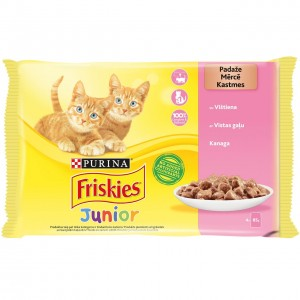 FRISKIES konservs kaķiem JUNIOR (vistu) 4*85g