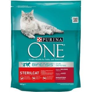 ONE kaķu sausā barība STERILIZĒTIEM (liellops/kvieši) 800g