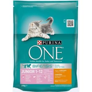 ONE kaķu sausā barība JUNIOR (vista,rīsi) 200g