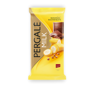 PERGALE piena šokolāde ar banāniem un griķiem 93g