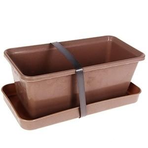 Puķu kaste ar paliktni 20cm pelēka