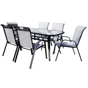 Dārza mēbeļu komplekts galds + 6 krēsli