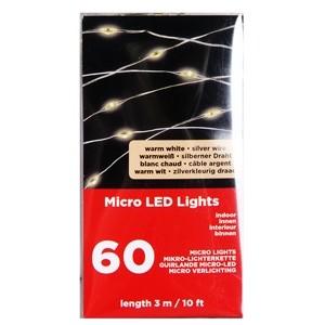 60 LED diožu virtene 2.95m silti balta