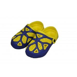 Dārza čības bērnu 33.izmērs dzeltenas ar zilu