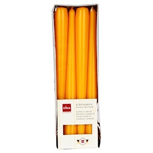 Galda sveces h24.5x2.4cm 4gab.dzeltenas