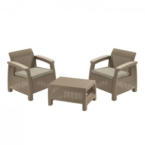 Dārza mēb.kompl.Corfu II Weekend galds+2krēsli bēšs