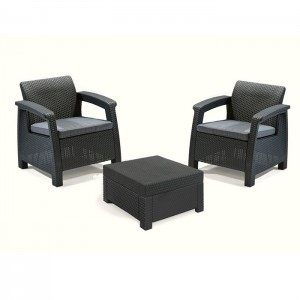 Dārza mēb.kompl.Corfu II Weekend galds+2krēsli pelēks
