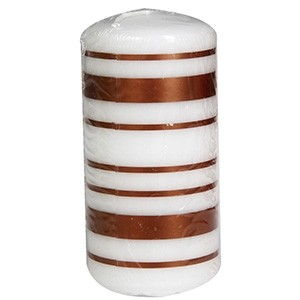 Svece cilindrs 5.8x12cm ar līniju apdruku