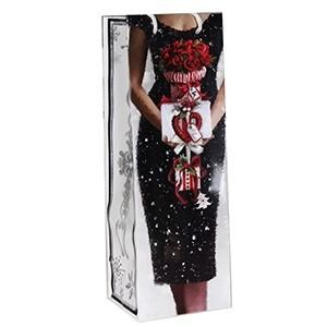 Dāvanu maisiņš pudelei X-Mas Lady 12x10x35cm