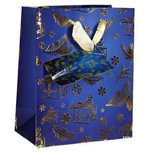 Dāvanu maisiņš Ziemassvētku 11x6x13,5cm zils