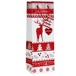 Dāvanu maisiņš Ziemassvētku 12x10x35cm pudelei