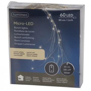 60 LED diožu virtene 0.80m silti balta