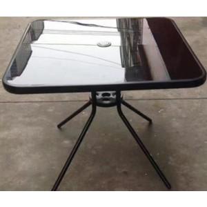 Metāla galds ar melnā stikla virsmu, izmērs: 80x80x70cm