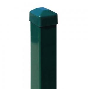 Paneļu žoga stabs ar pl. cepurīti, 60 x 40 x 1.51mm, 2.3m zaļš