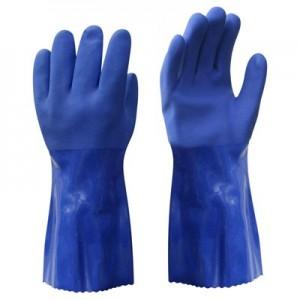 Cimdi PVC 30cm ar neslīd.pārkl. zilas 10.izm.