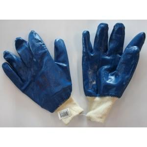 Cimdi tekstila ar zilu nitrila pārkl.10.izm.