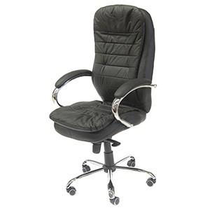 Biroja krēsls SAN FRANCISCO dabīgā āda melns