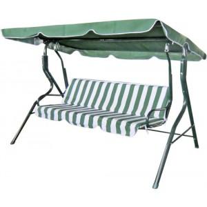 Šūpuļkrēsls 3-vietīgs svītrains zaļš/balts