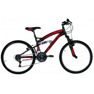 "Hogan mtb kalnu velosipēds ar pilno amortizāciju 24"" (melns)"