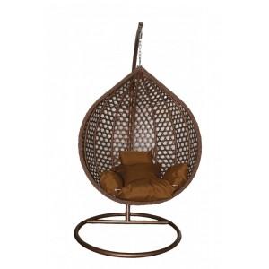 Šūpuļkrēsls iekarams ar statīvu un spilvenu (brūns) lielais 104cm