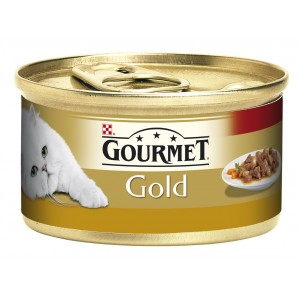 GOURMET GOLD kaķu konservs gaļas gabaliņi mērcē (tītars, pīle) 85g