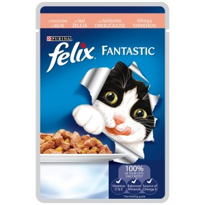FELIX kaķu konservs gaļas gabaliņi (lasis) 100g