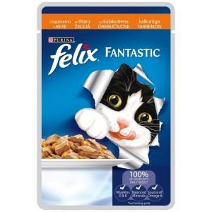 FELIX kaķu konservs gaļas gabaliņi (tītars) 100g