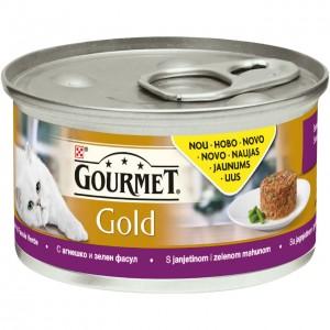 GOURMET GOLD kaķu konservs SAVOURY CAKE (jērs/zaļās pupiņas), 85g