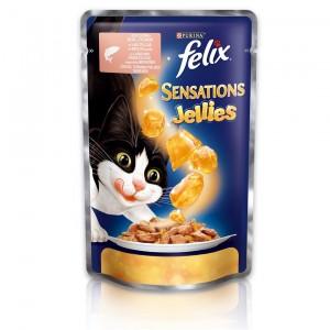FELIX Sensations kaķu konservs (lasis un menca) 100g