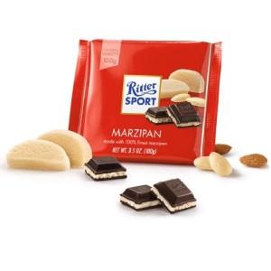 RITTER SPORT tumšā šokolāde ar marcipānu, 100g