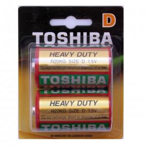 TOSHIBA cinka baterija D(lielā apaļā R20), blister 2gb