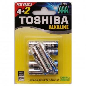 TOSHIBA alkaline barošanas elements AAA (LR3), blister 4+2gb GRATIS