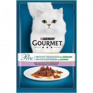 GOURMET PERLE kaķu konservs gaļas gabaliņi mērcē (medījums, tomāti) 85g
